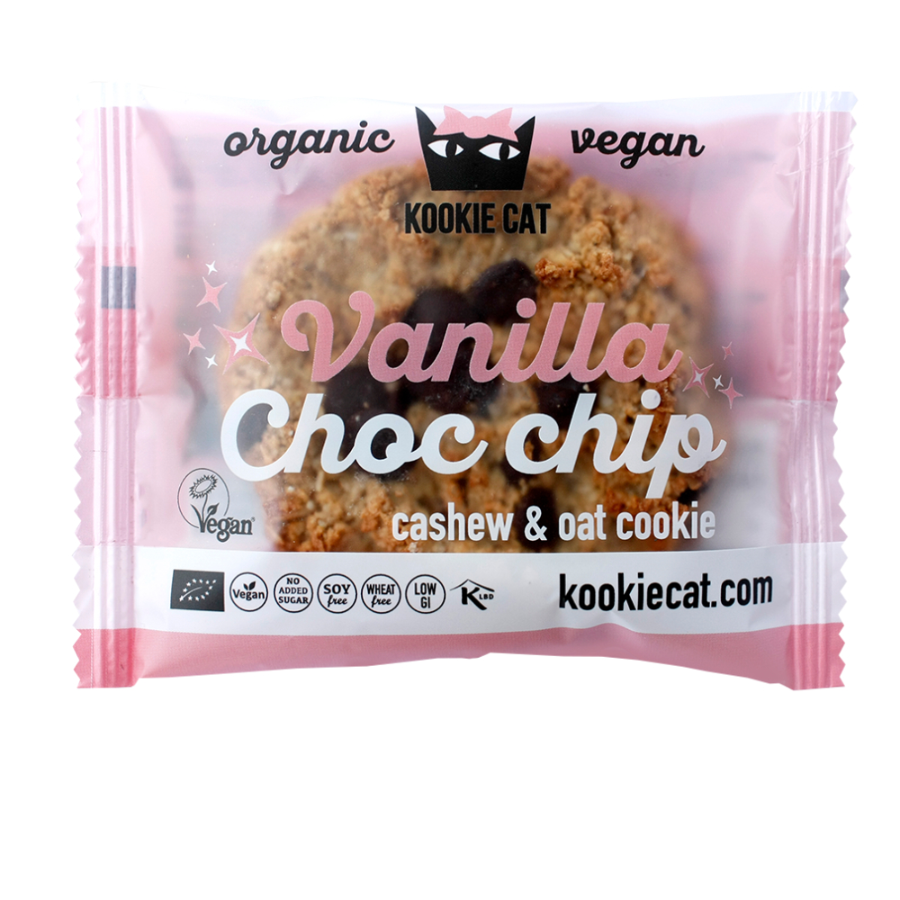 Kookie Cat Vanilla Choc Chip Keks, Bio, 50 g