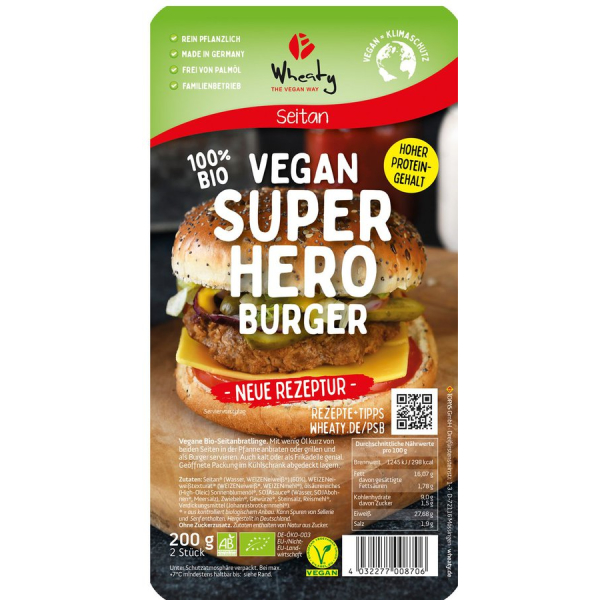 Wheaty Vegan Superhero Burger, Bio, 200 g